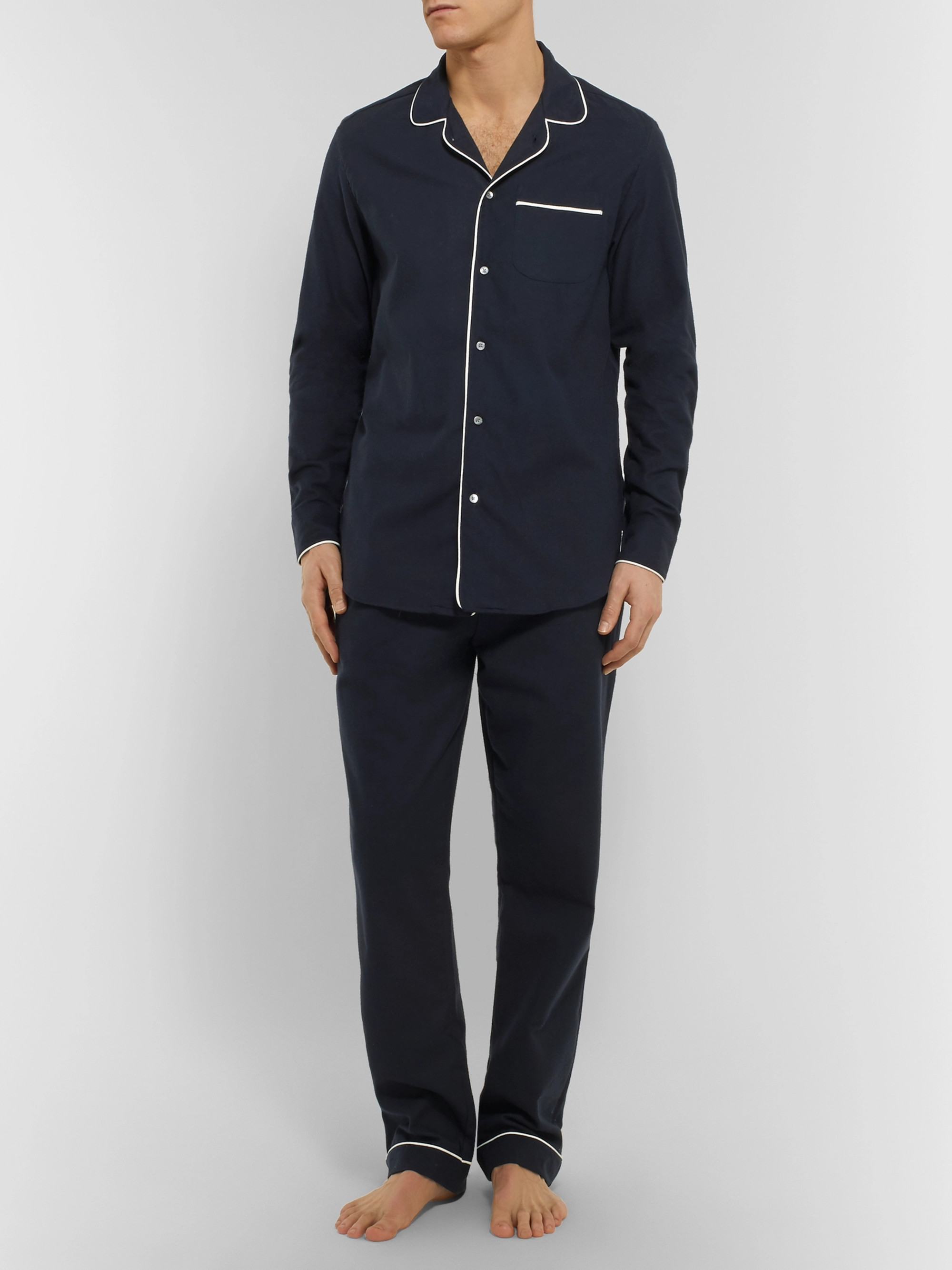 Desmond & Dempsey Brushed-Cotton Twill Pyjama Trousers