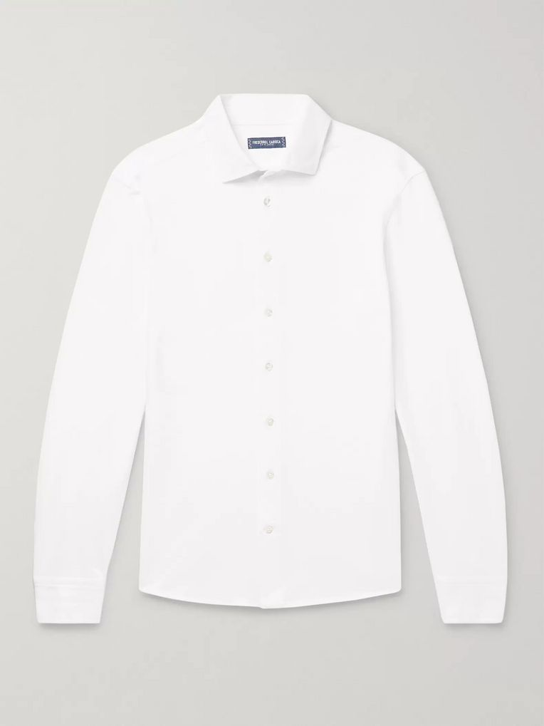 Frescobol Carioca Slim-Fit Cutaway-Collar Cotton-Piqué Shirt