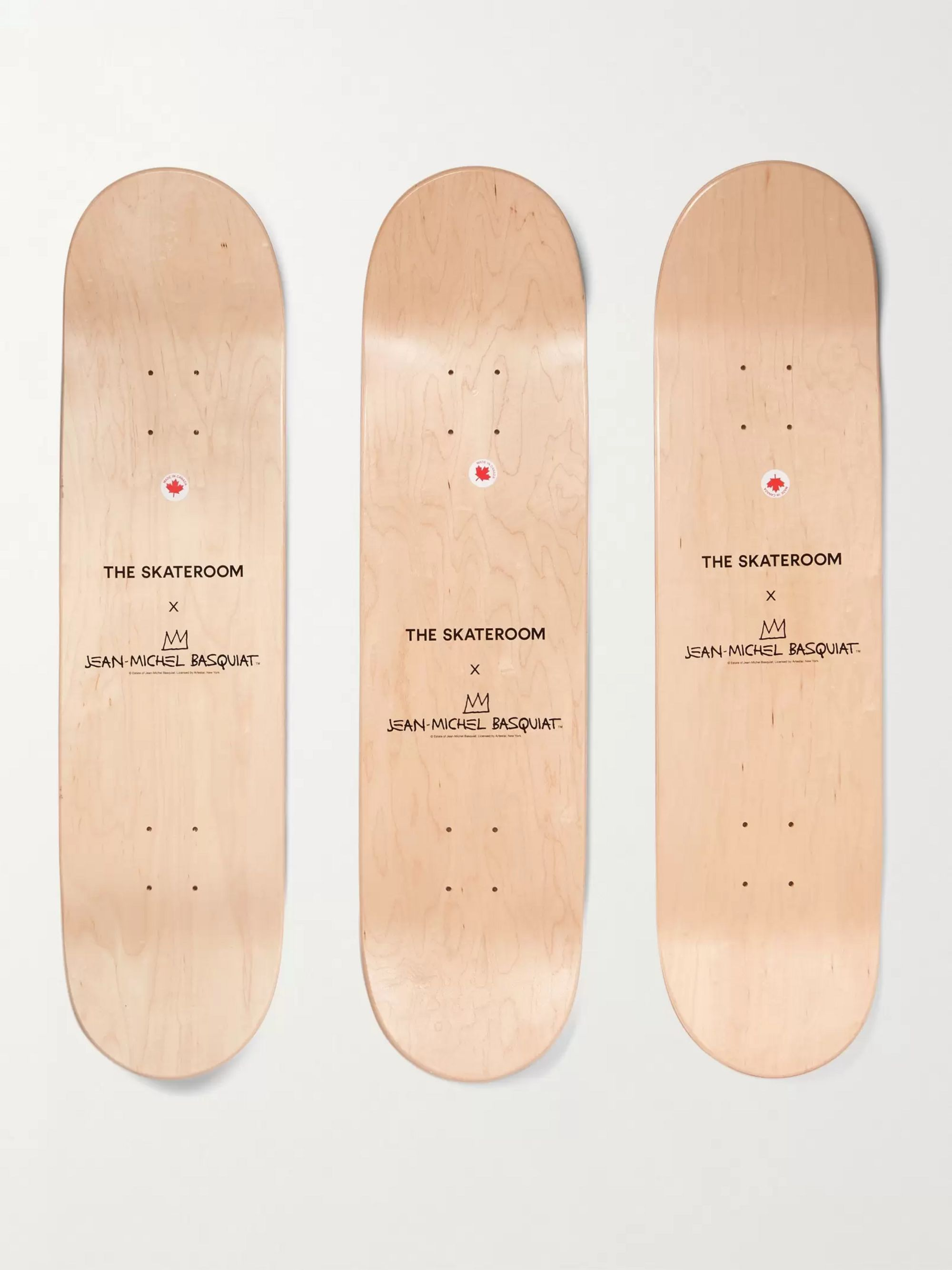 The SkateRoom + Jean-Michel Basquiat Set of Three Printed Wooden Skateboards