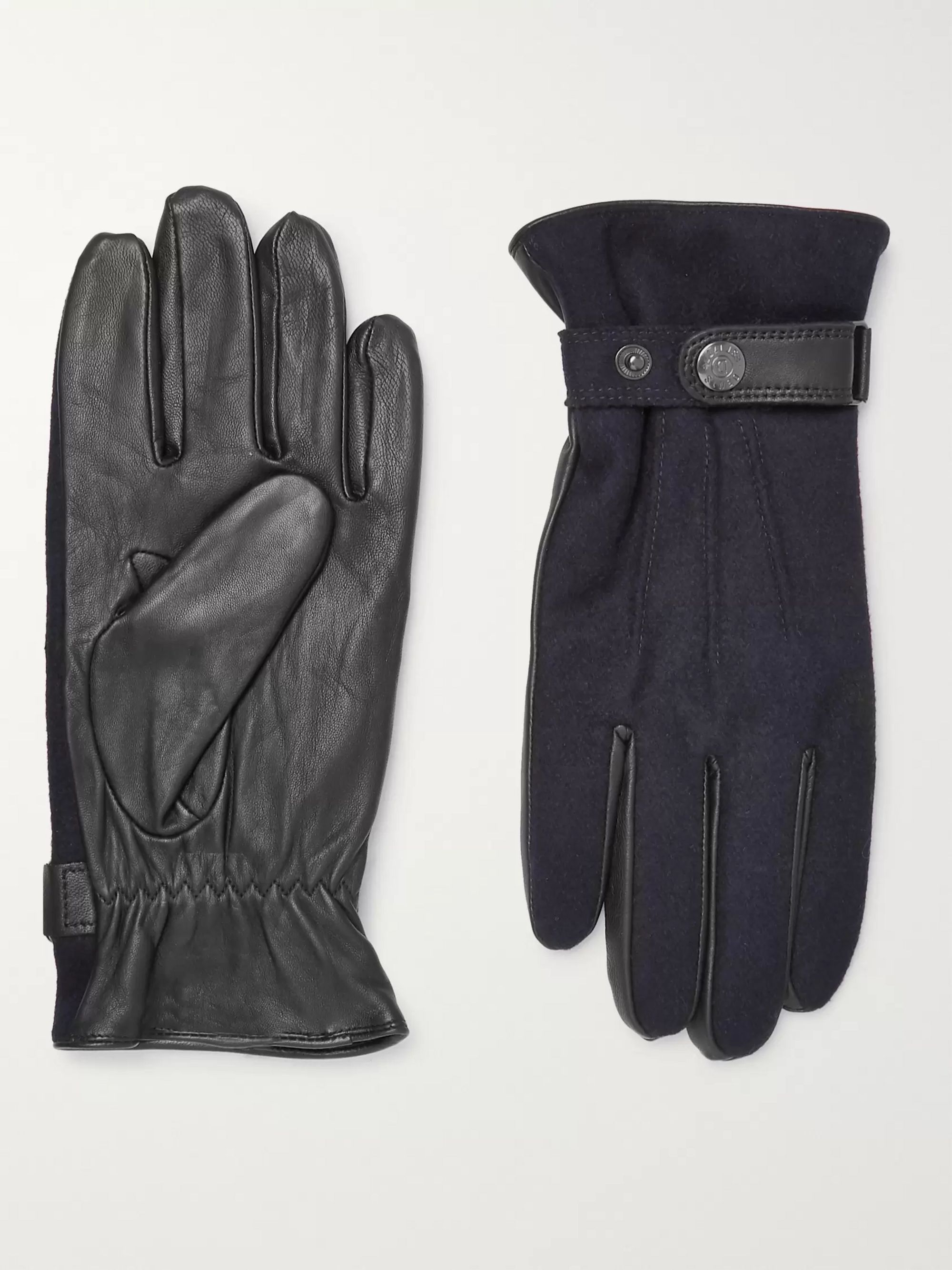 Dents Guildford Mélange Flannel and Leather Gloves