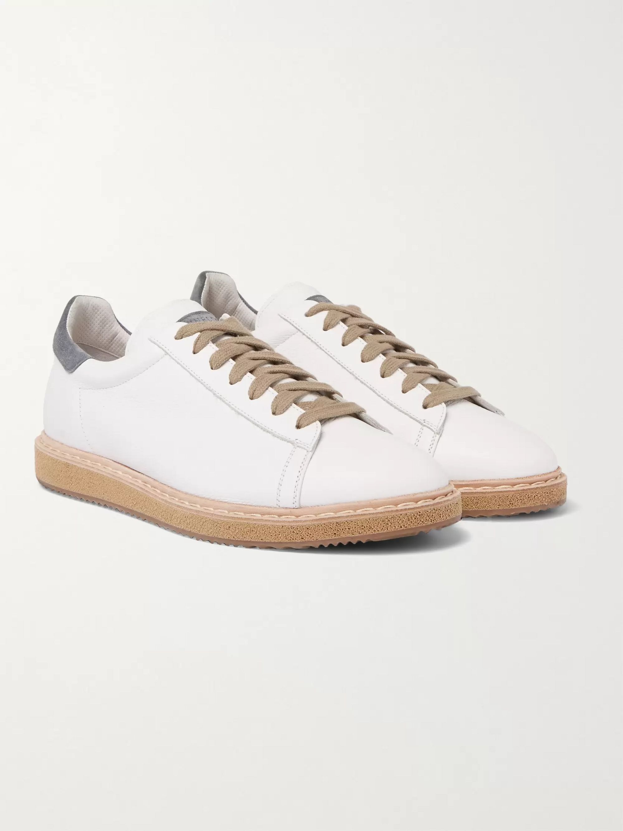 Brunello Cucinelli Suede-Trimmed Leather Sneakers