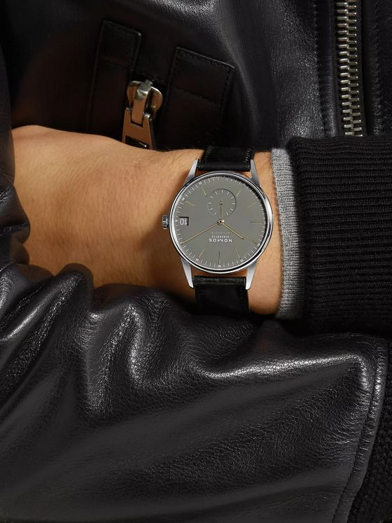 NOMOS Glashütte Orion Neomatik Datum Automatic 40.5mm Stainless Steel and Horween Cordovan Leather Watch, Ref. No. 364