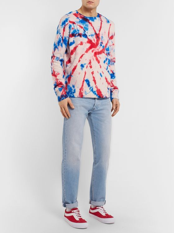 The Elder Statesman Tie-Dyed Intarsia Cashmere Sweater