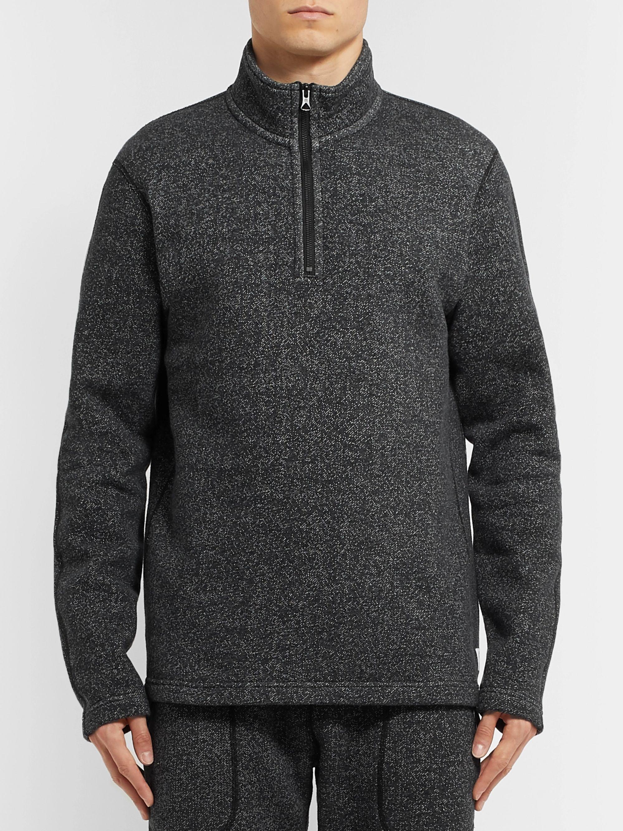 Mélange Fleece Back Cotton Blend Jersey Half Zip Sweatshirt