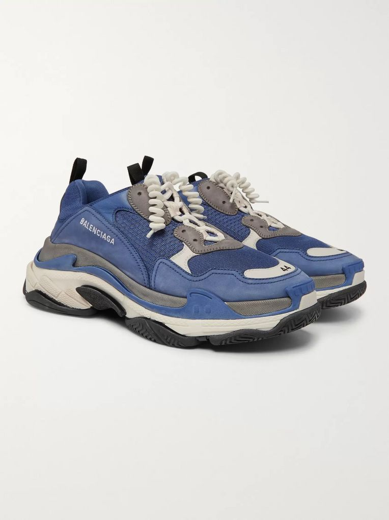 Balenciaga Triple S Mesh, Suede and Leather Sneakers