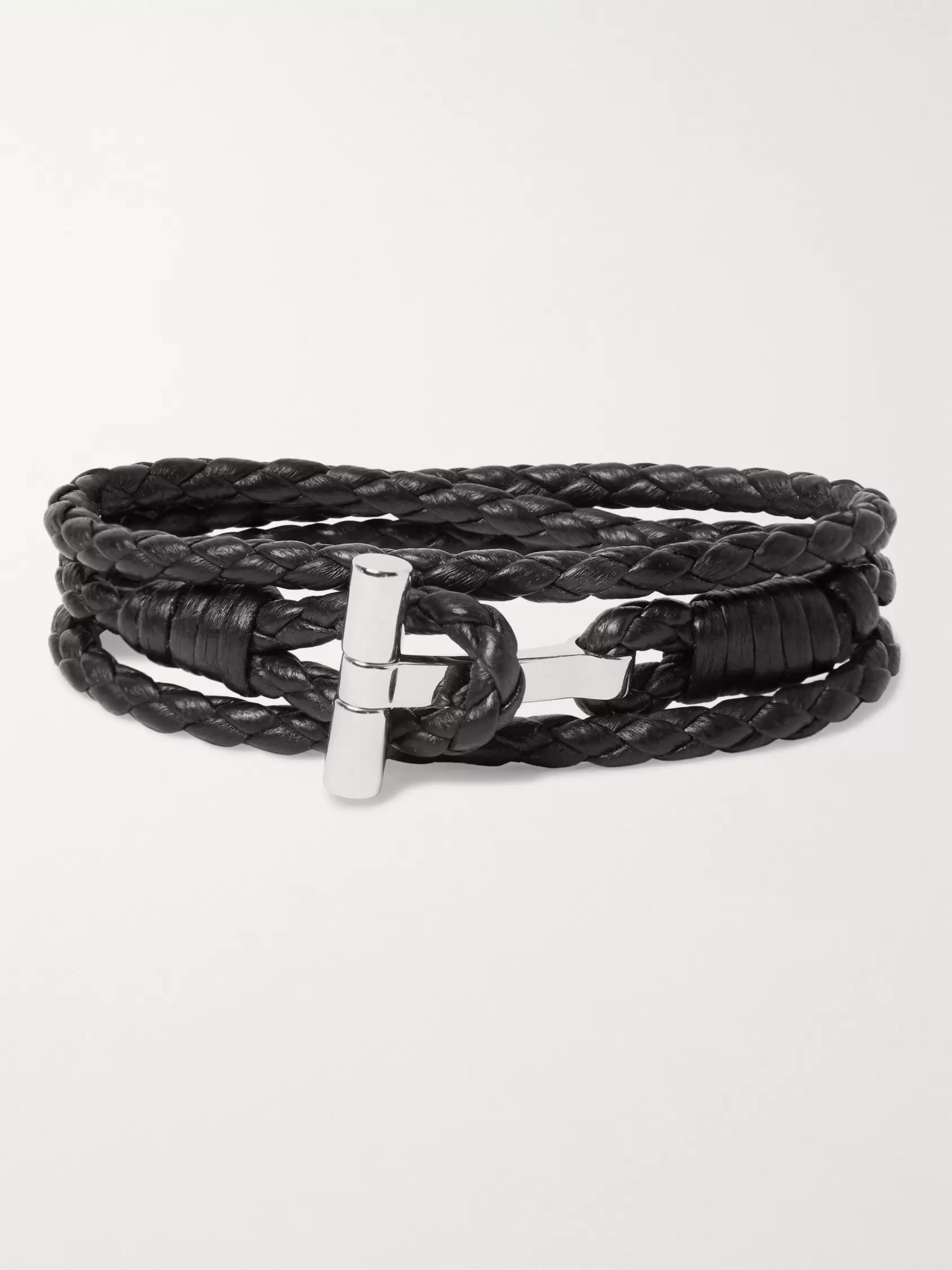 TOM FORD Woven Leather and Palladium-Plated Wrap Bracelet