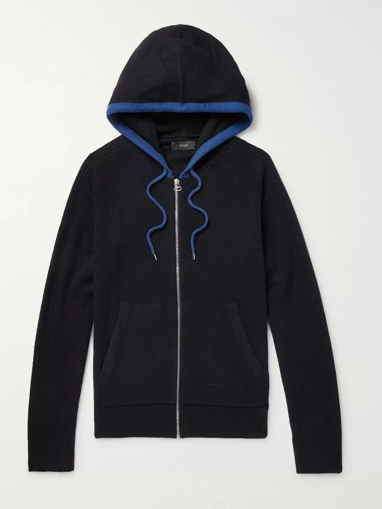 Joseph Contrast-Tipped Cashmere Zip-Up Hoodie