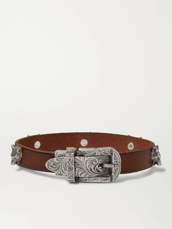 Gucci Burnished-Leather and Silver-Tone Bracelet