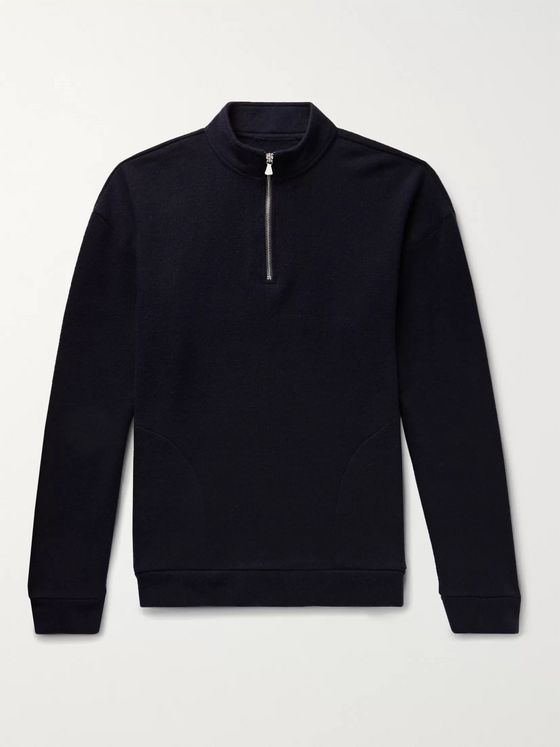 The Elder Statesman Intarsia Cashmere Half-Zip Sweater