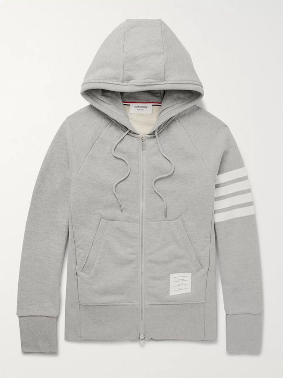 Thom Browne Slim-Fit Striped Loopback Cotton-Jersey Zip-Up Hoodie