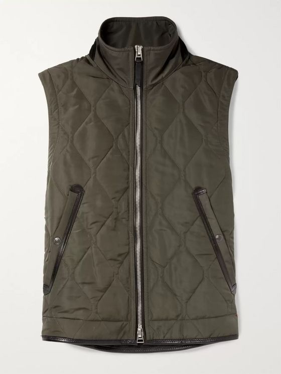 TOM FORD Leather-Trimmed Quilted Nylon Gilet