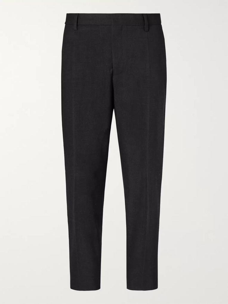 Mr P. Tapered Pleated Charcoal Stretch Wool and Cotton-Blend Cropped Trousers