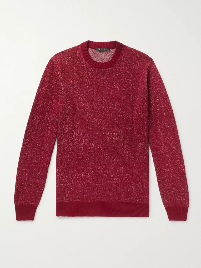 Loro Piana Slim-Fit Mélange Linen, Cashmere and Silk-Blend Sweater
