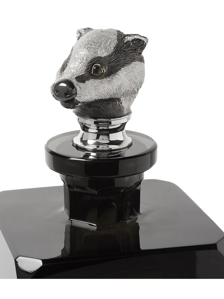Asprey Badger Sterling Silver and Crystal Decanter