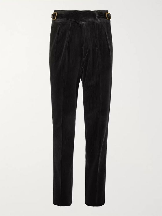 Rubinacci Manny Tapered Pleated Cotton-Corduroy Trousers