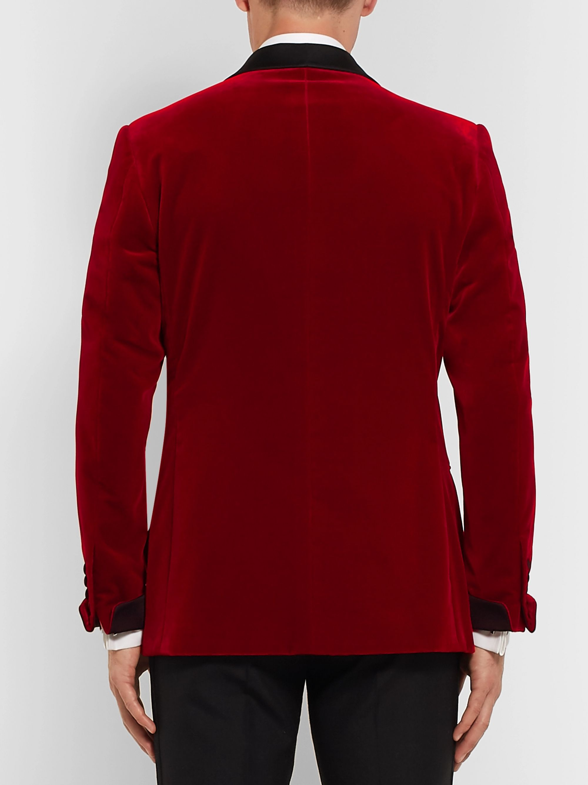 Kingsman Red Slim-Fit Twill-Trimmed Cotton-Velvet Tuxedo Jacket