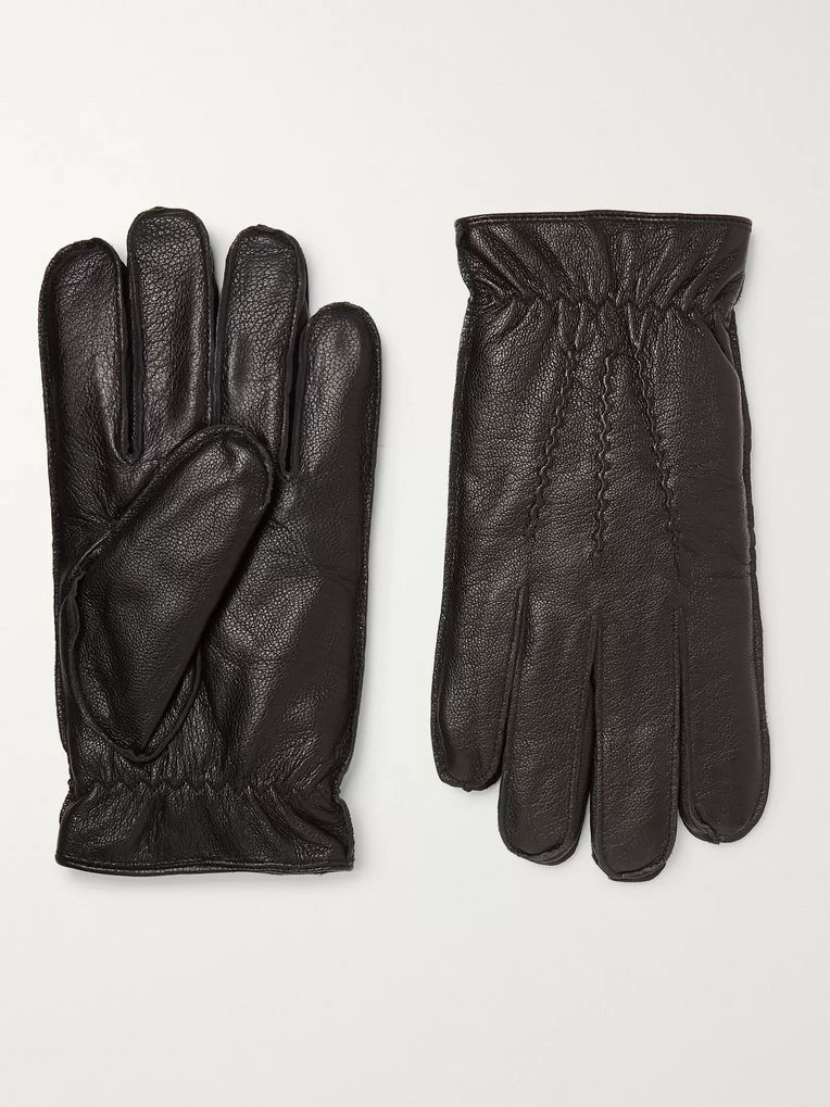 Dents Faux Fur-Lined Leather Gloves
