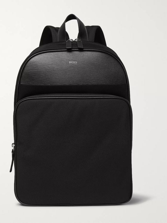 Hugo Boss Meridian Cross-Grain Leather-Trimmed Canvas Backpack