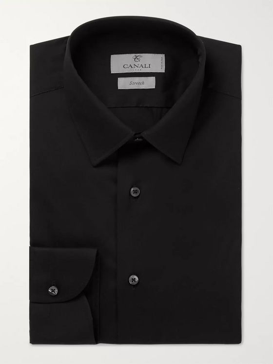 Canali White Slim-Fit Stretch Cotton-Blend Poplin Shirt