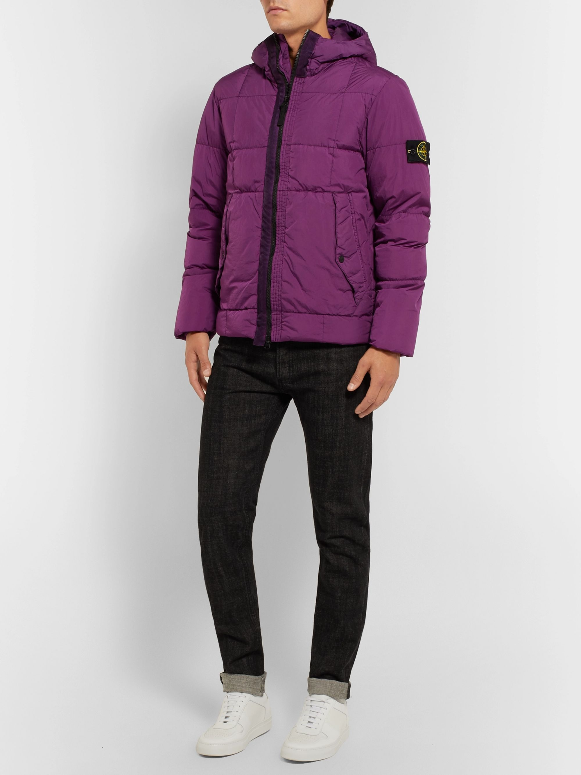 Stone Island Quilted Garment-Dyed Shell Down Jacket