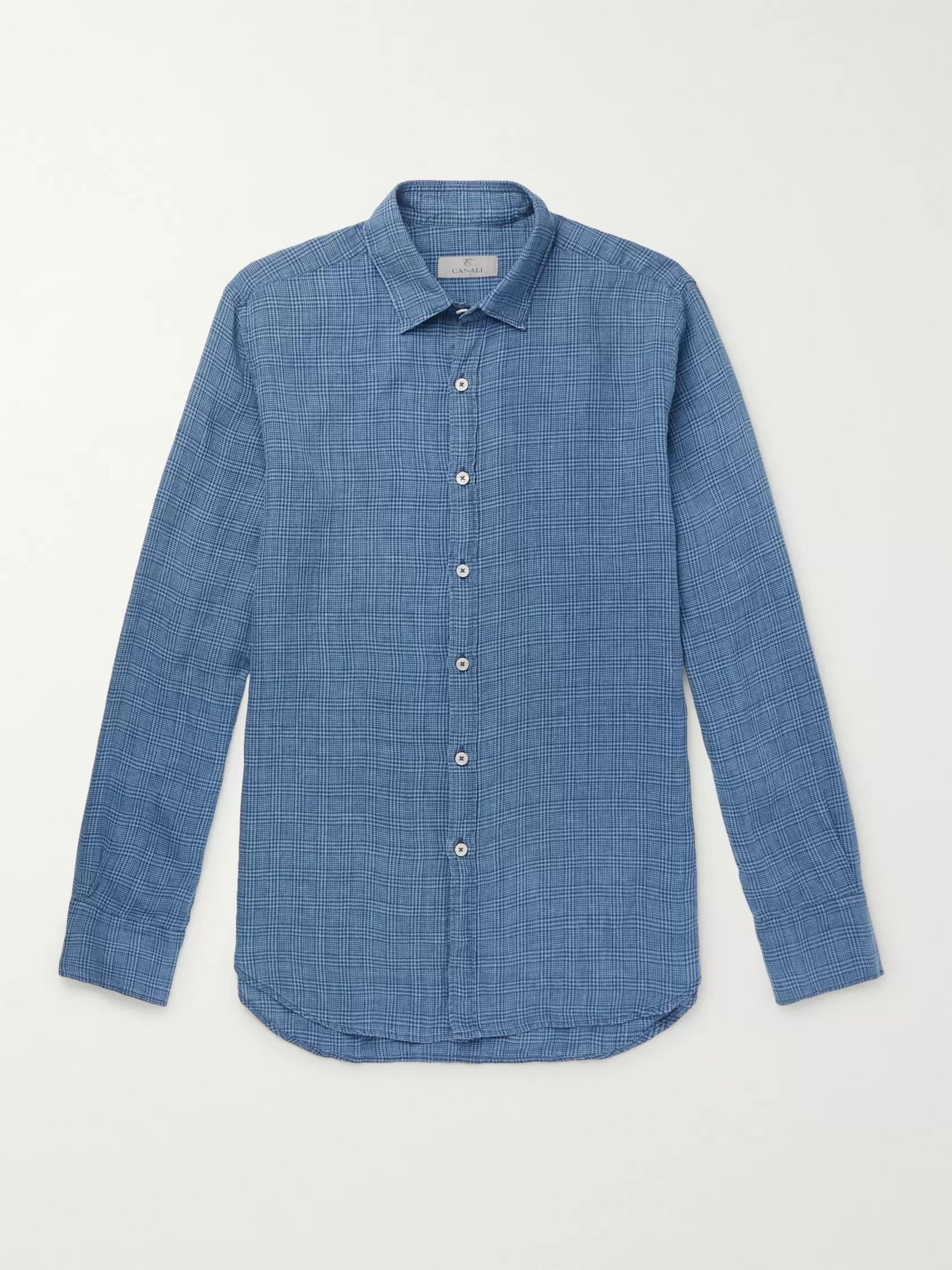 Canali Puppytooth Prince of Wales Checked Linen Shirt
