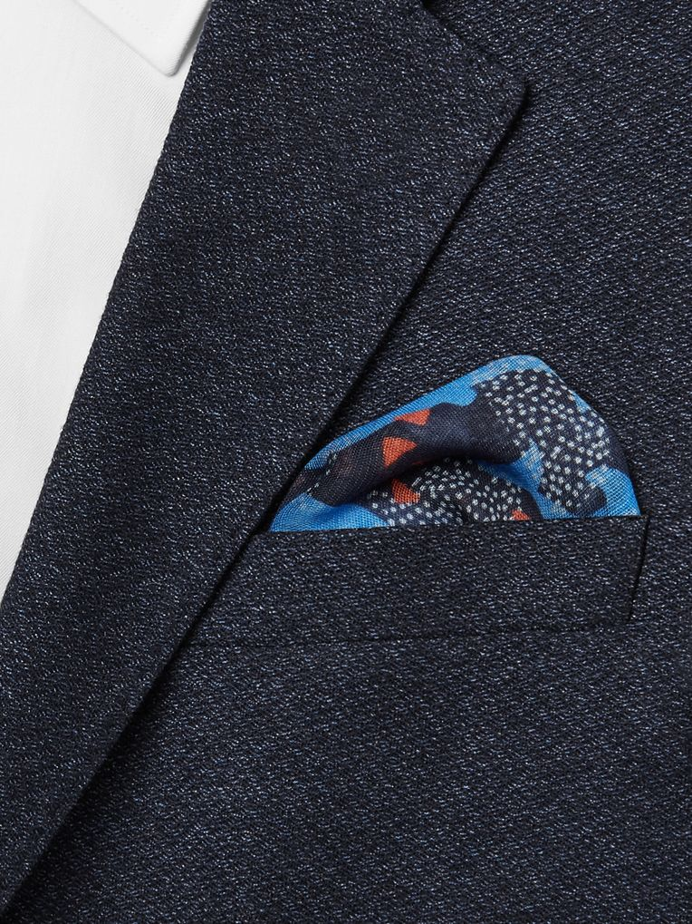 Drake's Printed Cotton, Modal and Cashmere-Blend Voile Pocket Square