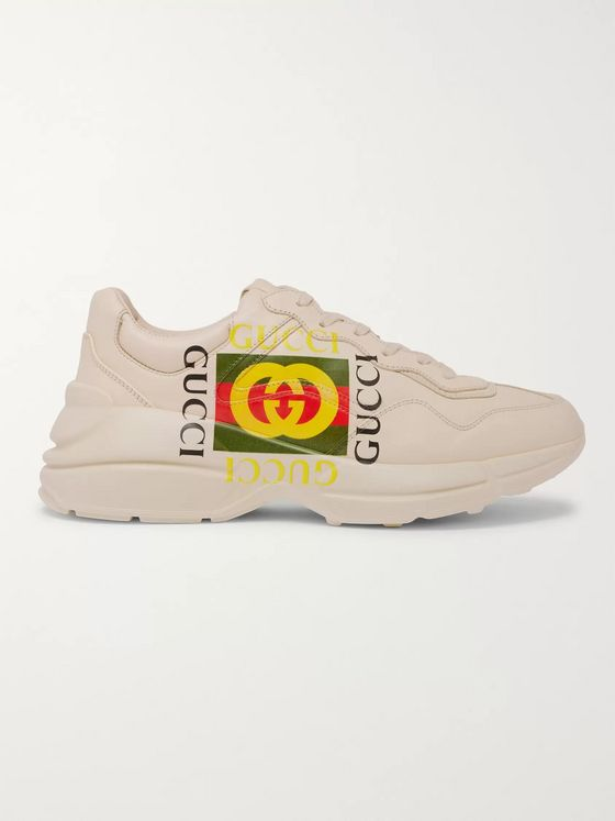 GUCCI Rhyton Logo-Print Leather Sneakers