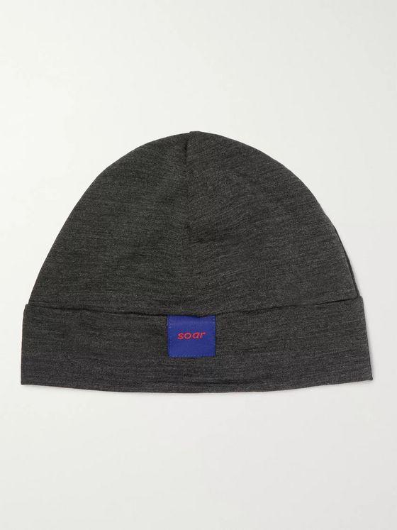 Soar Running Mélange Wool and Silk-Blend Beanie