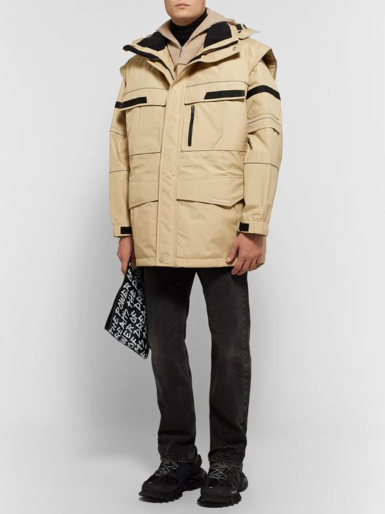 Balenciaga Oversized Convertible Shell and Virgin Wool Hooded Parka