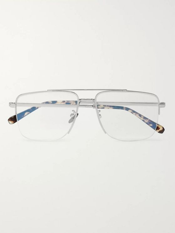 Brioni Square-Frame Silver-Tone Optical Glasses
