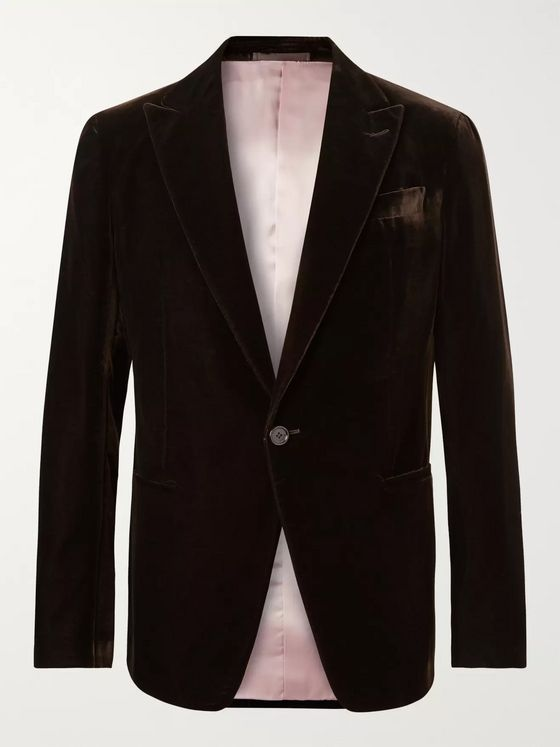 BERLUTI Dark-Brown Velvet Tuxedo Jacket