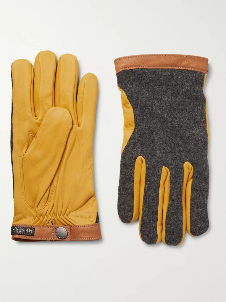Hestra Tricot-Panelled Leather Gloves