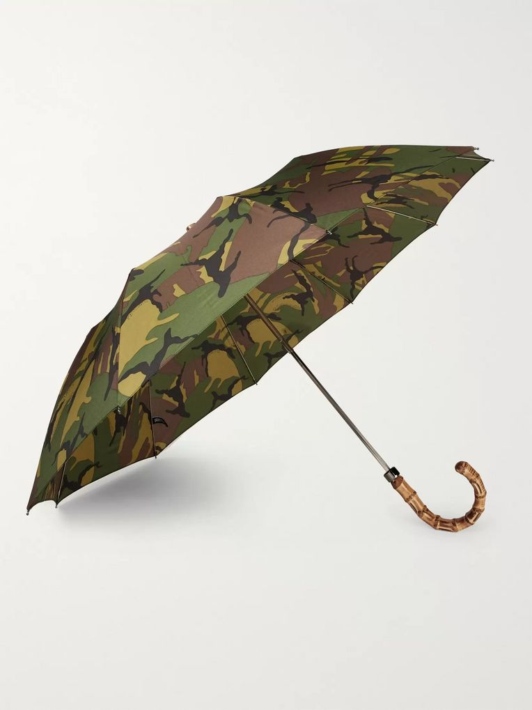 London Undercover Camouflage-Print Wood-Handle Telescopic Umbrella