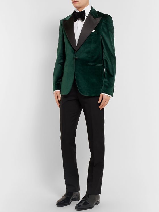 SALLE PRIVÉE Green Ander Slim-Fit Satin-Trimmed Cotton-Velvet Tuxedo Jacket