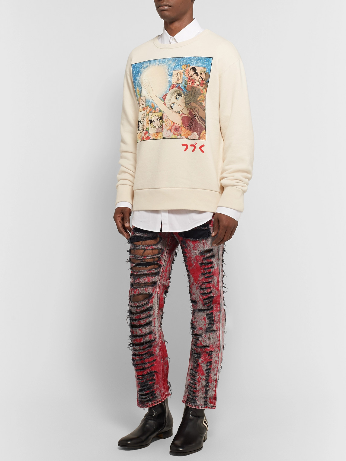 Gucci Jeans SKINNY-FIT PAINTED DISTRESSED JEANS