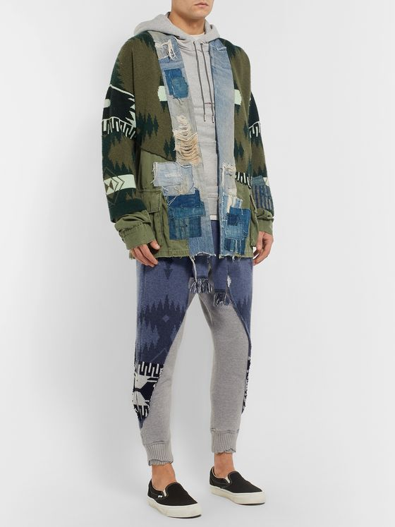 Alanui + Greg Lauren Tapered Panelled Cashmere-Intarsia and Loopback Cotton-Jersey Sweatpants