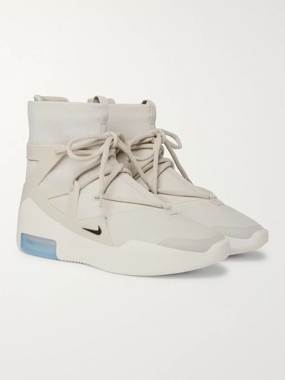Nike Air Fear of God 1 Rubber-Panelled Leather High-Top Sneakers