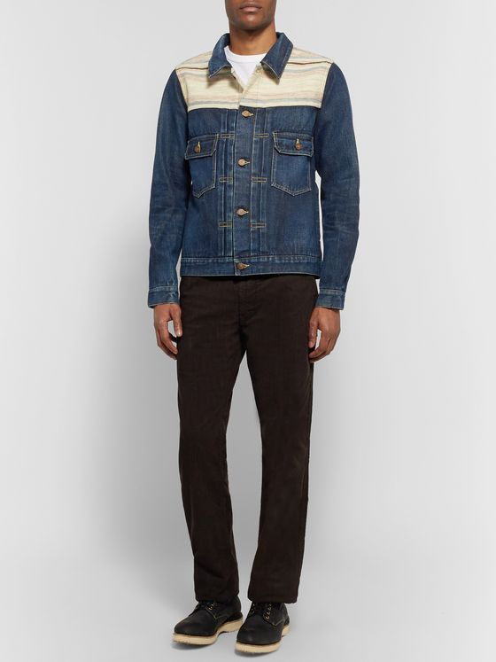 visvim Striped Bouclé-Trimmed Denim Jacket