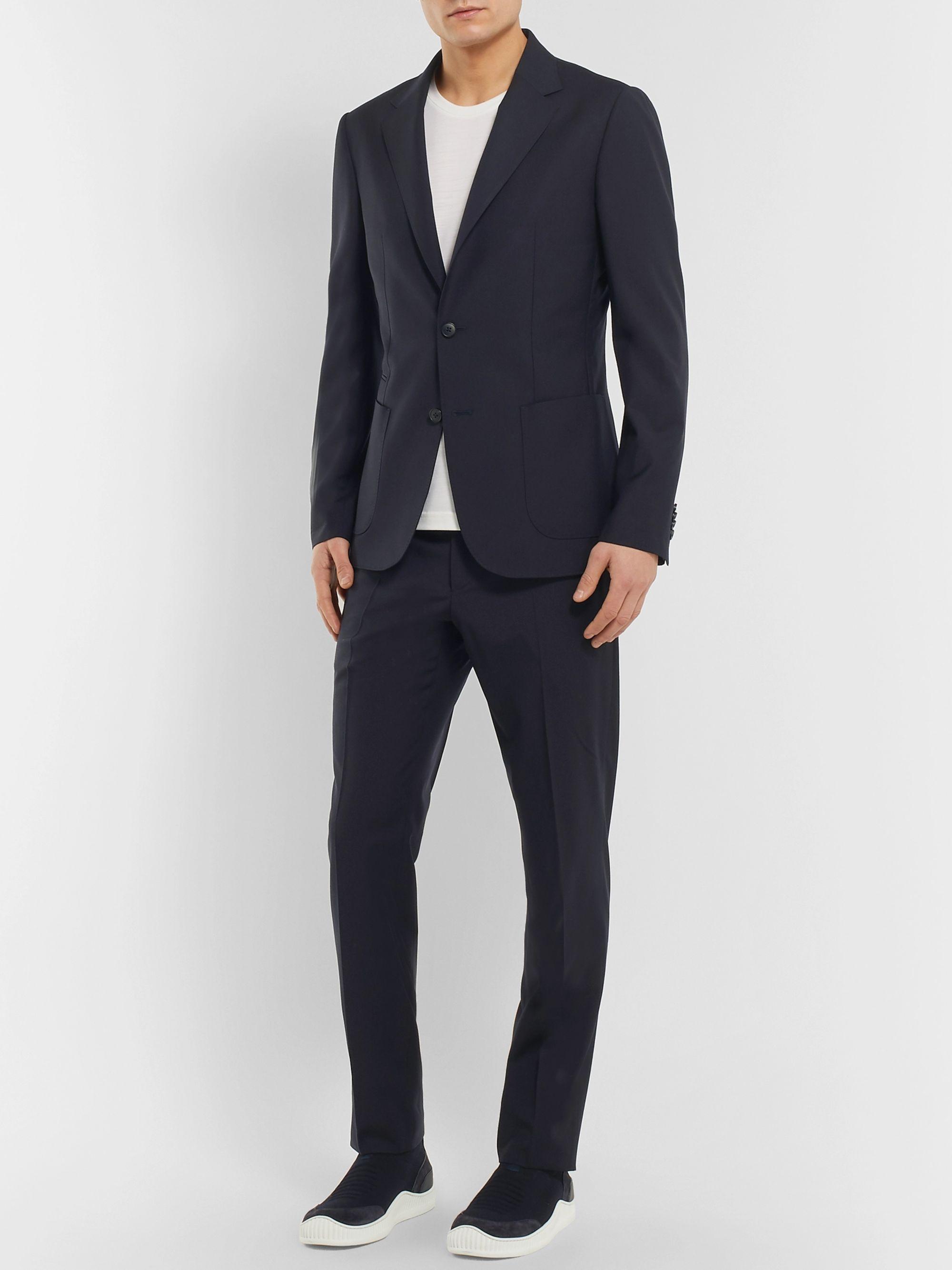 63073900 Midnight-Blue Slim-Fit Wash & Go TECHMERINO Wool Suit