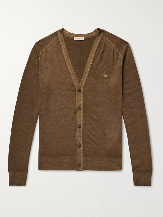 Etro Slim-Fit Garment-Dyed Merino Wool Cardigan