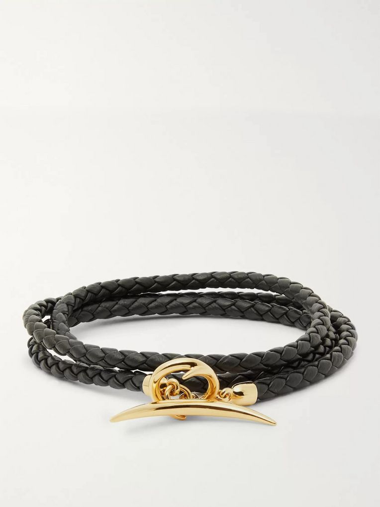 Shaun Leane Quill Woven Leather and Gold-Plated Wrap Bracelet