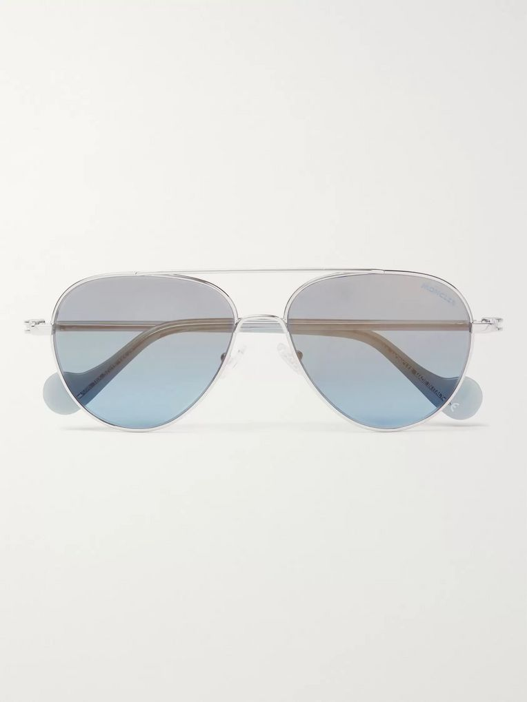 Moncler Aviator-Style Palladium-Plated Sunglasses