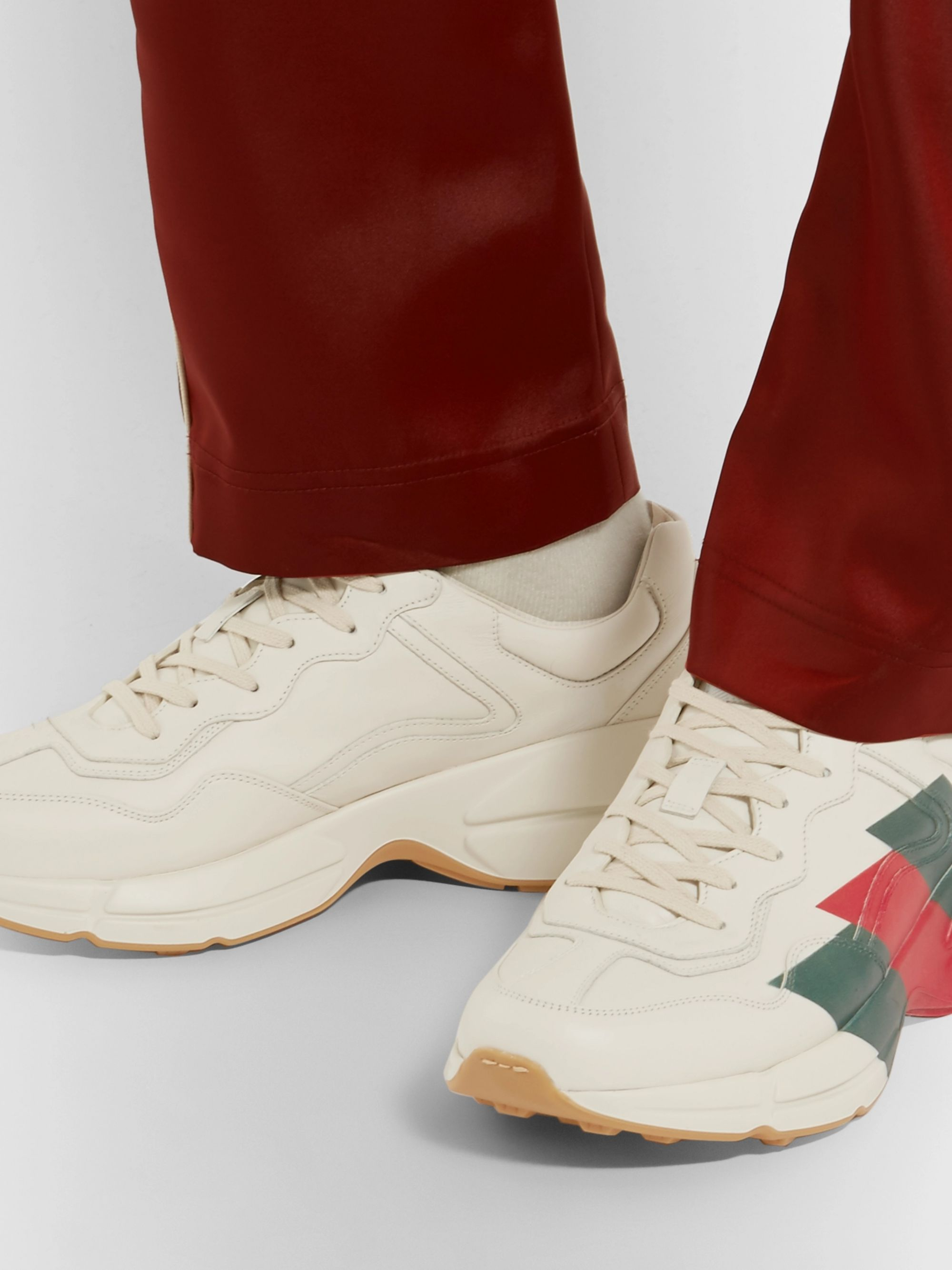 Gucci Rhyton Striped Leather Sneakers