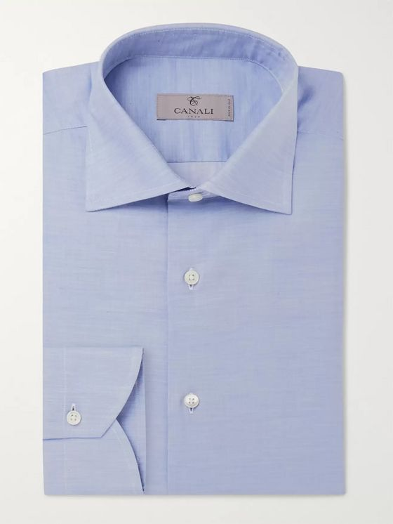 Canali Blue Gingham Cotton-Poplin Shirt