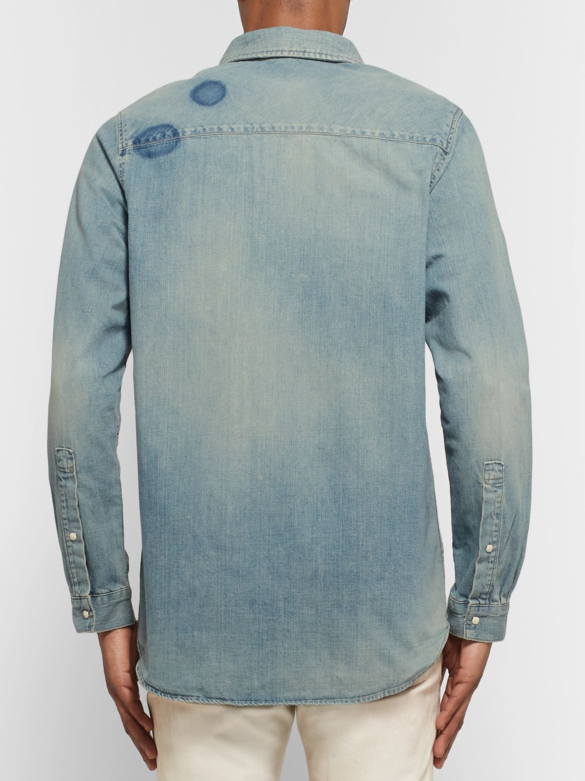 John Elliott Distressed Denim Western Shirt