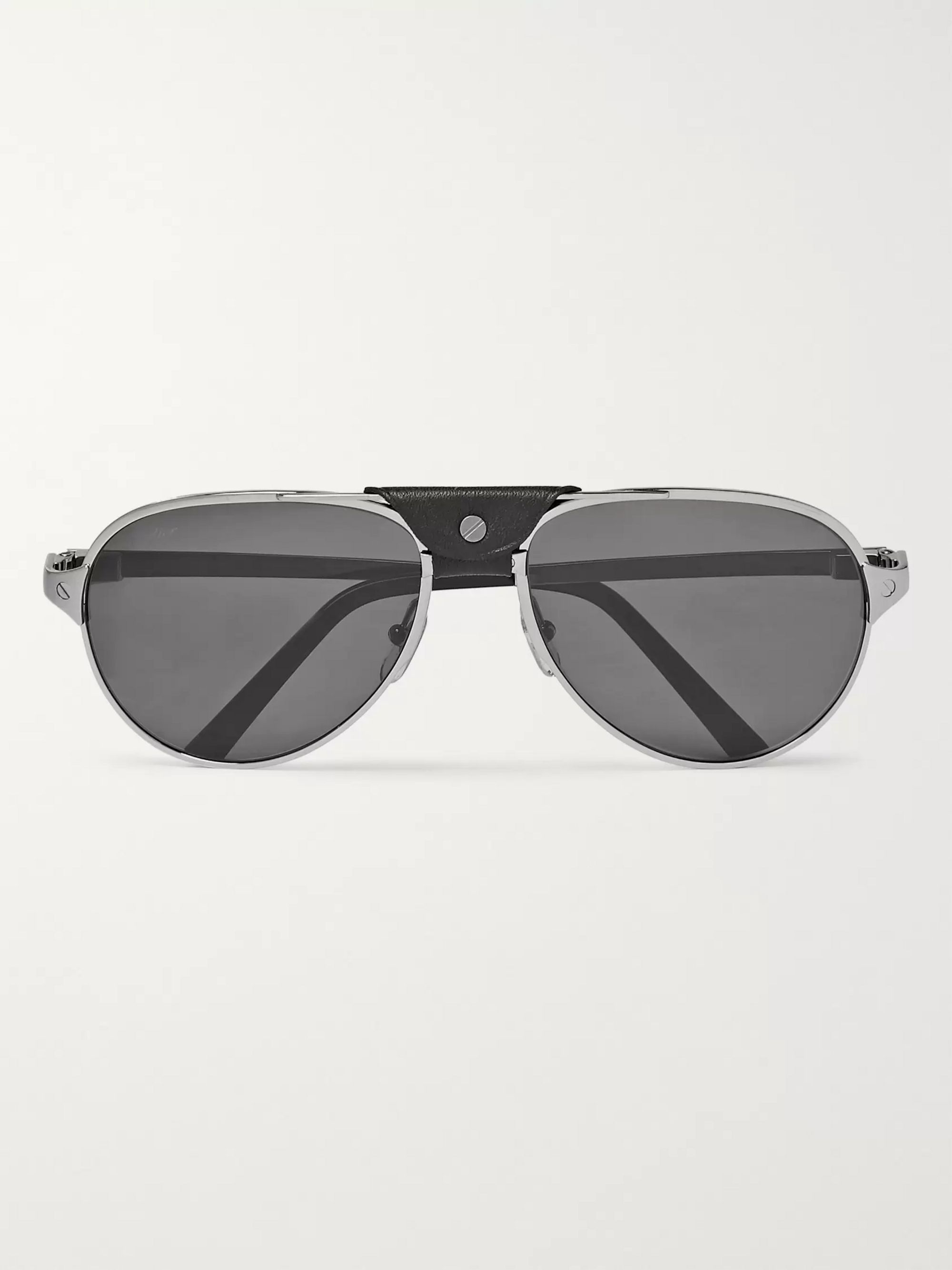 Cartier Eyewear Santos de Cartier Aviator-Style Leather-Trimmed Silver-Tone Sunglasses