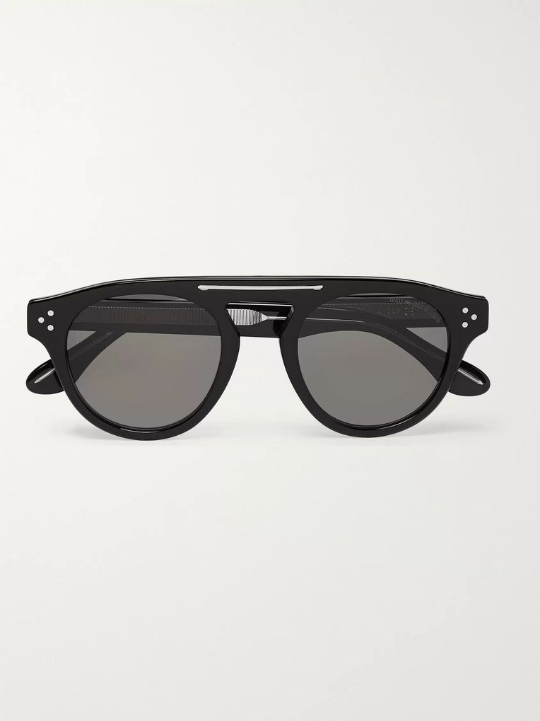 Cutler and Gross Round-Frame Acetate and Silver-Tone Sunglasses