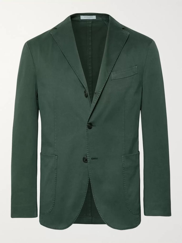Boglioli Dark-Green Slim-Fit Unstructured Stretch-Cotton Drill Suit Jacket