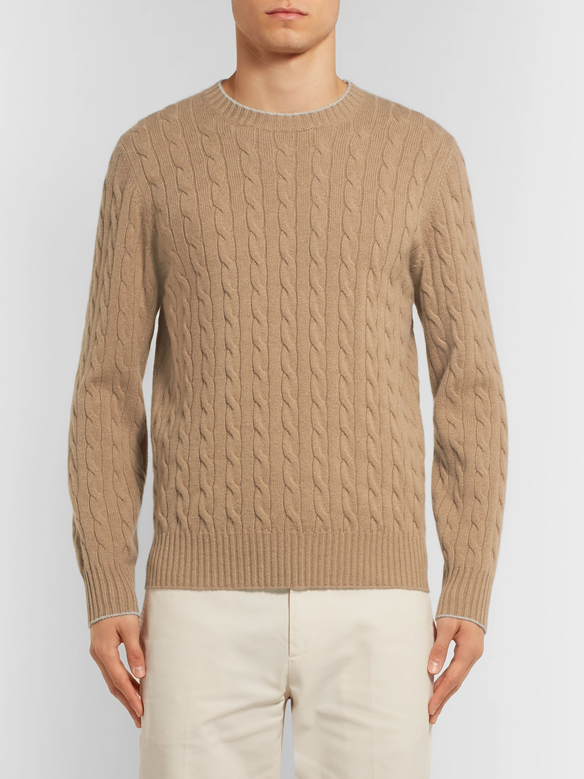 Brunello Cucinelli Contrast-Tipped Cable-Knit Cashmere Sweater