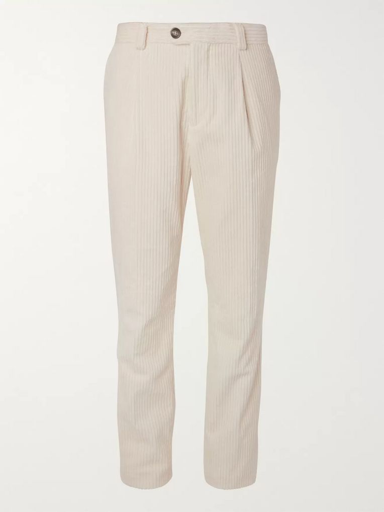 Brunello Cucinelli Pleated Cotton-Corduroy Trousers